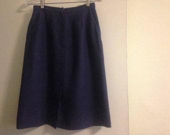 Vintage Navy Blue Linen Skirt