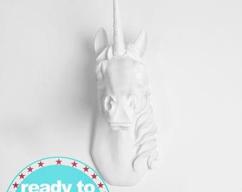 Quick Ship! Faux Taxidermy Unicorn Head Wall Decor. White, to Gold, & Glitter Unicorn Decor By White Faux Taxidermy (Mon-Thurs*)