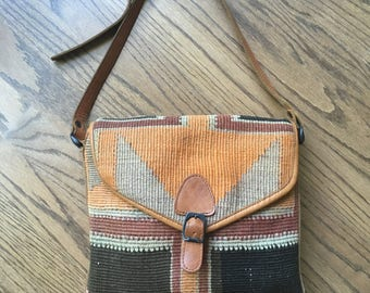 Vintage Kilim Purse - Kilim and Leather Bag