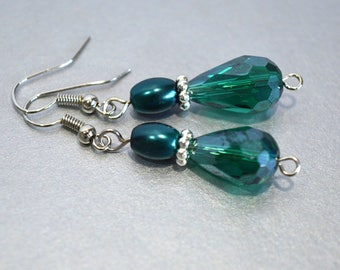 Emerald & Teal Drop Earrings, Green Dangle Earrings with Faceted Glass Drops, Gifts for Her, Nickle-Free Silver Earwires, Ready to Ship