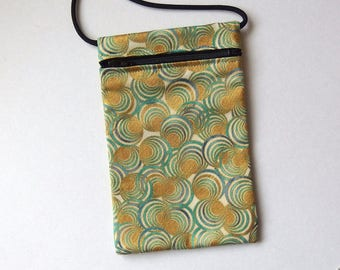 """Pouch Zip Bag AQUA GOLD Swirls Fabric. Great for walkers, markets, travel. Cell Phone Pouch. Evening Purse. gold accents. 7.25"""" x 4.5"""""""