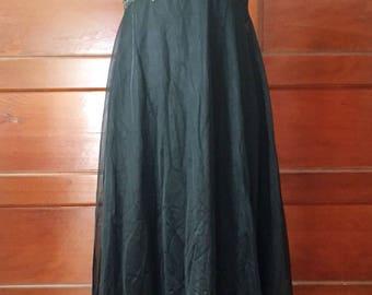 1960's Long Negligee - Vintage 60's Vanity Fair Black Nightgown or Slip - Vintage Lingerie - Size S 34