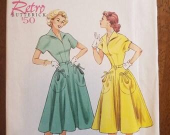 Butterick 6055: Retro Reprint 1950 Women's Dress and Belt