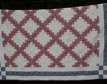 Beautifully Quilted Double Irish Chain Quilt