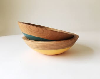 "Small Individual Serving Salad or Snack Bowl, Cherry Wood, 7"" hardwood bowl, color dipped,  wooden bowl by Willful"