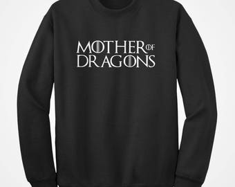 Crew Mother of Dragons Unisex Adult Long Sleeve Game Crewneck Sweatshirt Gift for Him or Her #3373