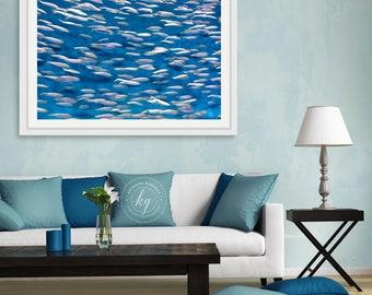 Framed Underwater Ocean Print, Fish Photography, Large Abstract Beach Art, Coastal Beach Wall Decor, School of Fish Picture, Navy Blue Aqua