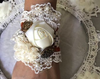 Victorian Boho Shabby Chic Lace and Flowers Cuff Bracelet