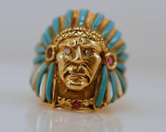Signed Johnny Blue Jay Hopi Turquoise Diamond Ruby 14k Indian Chief Ring Rare Vintage
