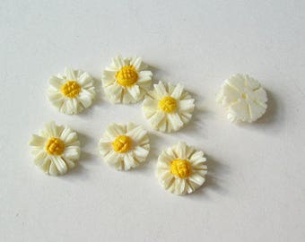 Carved bone daisies 8 pcs  8mm