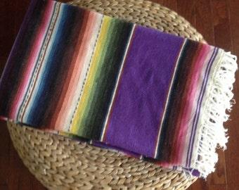 SALE / large Mexican wool blanket / Serape textile / Southwestern