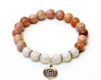 Sunstone bracelet, Moonstone bracelet, sunstone jewelry, moonstone jewelry, sunstone beads, moonstone,beads, lotus bracelet, lotus charm
