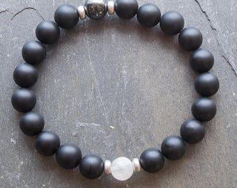 Wrist Mala, Healing Bracelet, Black Onyx Stretch Bracelet, Mala Beads, Healing Bracelet, Bracelet, Chakra Bracelet, Black Bracelet