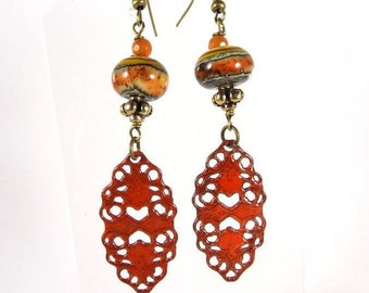 ANASTASIA. Bronze enamel earrings lampwork earrings orange tone