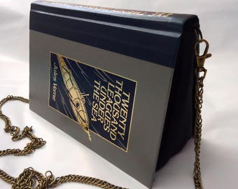 20,000 Leagues Under the Sea Book Jules Verne Purse Bag Clutch - Upcycled Book