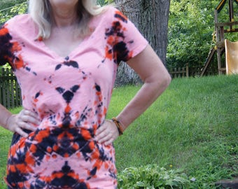 Unique Women's XL Cotton Tie Dye T-Shirt, X-Large Cotton Tie Dye Shirt, Blush, Orange and Black Tie Dye Shirt, Summer Boho Beach Style