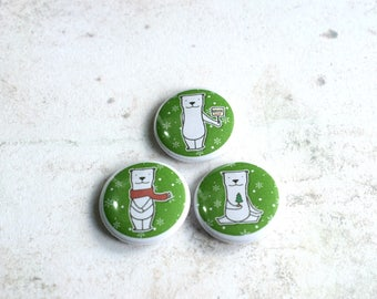 Polar Bear Badges, Christmas Badges, Cute Badges, Stocking Fillers, Gifts for Kids, Christmas Pins, Stocking Fillers, Budget Gifts,