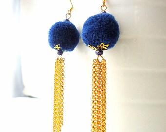 Tassel Earrings, pom pom earrings, royal blue earrings, bright blue earrings, Drop earrings, Chain earrings, 2017 trends, glam earrings,