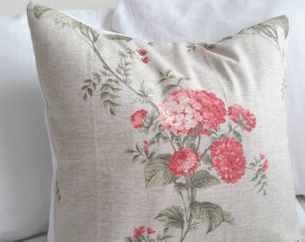 Hydrangea cushion cover, vintage Crowson fabric, vintage pillow cover, 50 cm, 20 inch, botanical cushion, floral cover, heidi, country chic