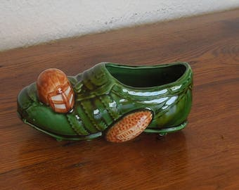 Vintage Ceramic Football Shoe Planter Vase Relpo