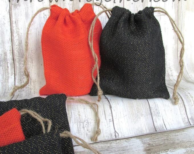 Halloween Party Favors, Burlap Favor Bags, Orange & Black Sparkle Favor Bags, Pumpkin Orange Party Favor Bags, Set of 6 Handmade Burlap Bags