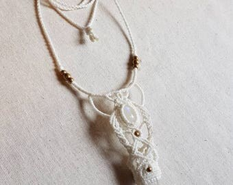 Rainbow Moonstone & Raw Quartz Point Macrame Necklace