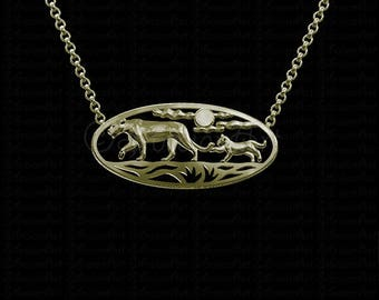 African Sunset - Gold bears pendant and necklace