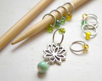 Knitting Stitch Markers - Lotus Flower - Snag Free - Made to order in your choice of 4 sizes