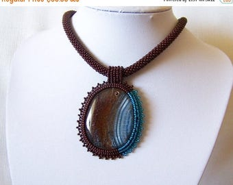 15% SALE Bead Embroidery Necklace with Agate -  Beadwork necklace - blue and brown necklace - statement necklace - modern necklace
