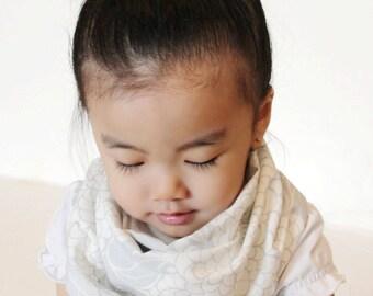 """Modern Bib (Coastal Fog) All in One Scarf & Bib """"Scabib"""" TM for babies or toddlers"""