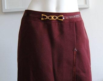 Celine Burgundy Skirt Sz M/L Paris with Gold Logo Belt