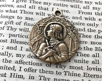 St. Joan of Arc Medal - BRONZE or STERLING - St. Jeanne D'Arc Medialle - Patron of soldiers and France (CD-358)