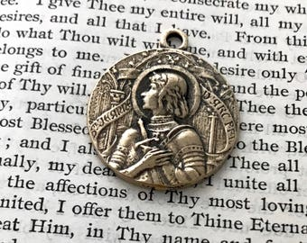 St. Joan of Arc Medal - BRONZE, White Bronze, or STERLING - St. Jeanne D'Arc Medialle - Patron of soldiers and France (CD-358)