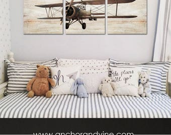 CANVAS // Antique Airplane // 3 Panel Large Wall Art // nursery decor, nursery art, nursery airplane, plane, pilot, aviation, aviator