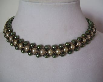 Champagne and Olive Pearl Bead Work Necklace Collar Choker Bib with Gold Bead Accents