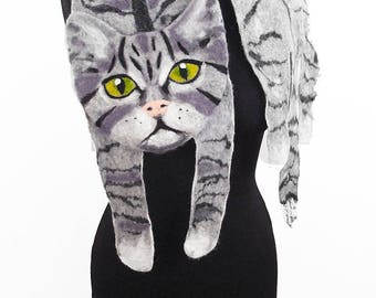 Cat Scarf Cat Stole Animal Scarf Cat Collar Felted Scarf Gray Cat Nunofelt Scarves Felt Wrap Nuno felt wearable art
