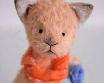Teddy bear cat Annette Stuffed Animal ooak