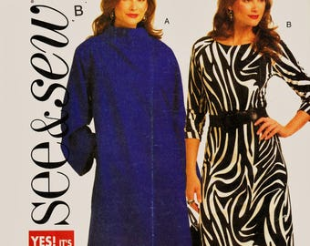 See & Sew EASY Pattern B5238 Plus Size Mid-Calf Coat and Sleek Fitted Dress Sz 14-20 Uncut FF Career Wear Sewing Patterns Sew Supplies
