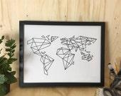 Geometric World Map Print, Travel Lover Gift, Minimalist Modern Wall Art, Geometric Map, Map of the World, World print, Geometry Wall Art