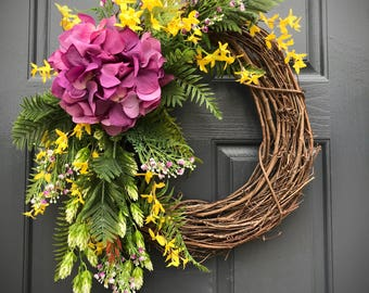 Front Door Wreath, Spring Wreaths, Purple Yellow Wreath, Hydrangea Wreath, Purple Hydrangeas, Wreaths for Spring, Gift for Her, Housewarming