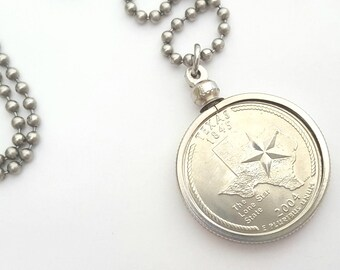 Texas State Quarter Coin Necklace with Stainless Steel Ball Chain or Key-chain - 2004 - the Lone Star State