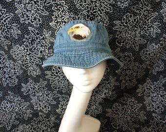 Blue Denim Bucket Hat. Super Fresh Hip Hop Dad Bad Ass Bucket Hat With A Bald Eagle On It. Carolina Raptor Center Denim Bucket Hat