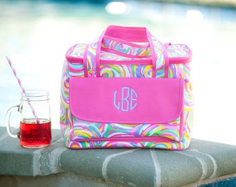 Summer Sorbet Cooler Lunch Tote - May be Monogrammed - Swirling Rainbow Design Personalized Insulated Bag