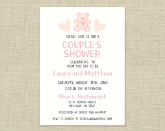 Couples Shower Invitation custom printable, baby shower, celebration, gender reveal, girl. its a girl, pink, teddy bear