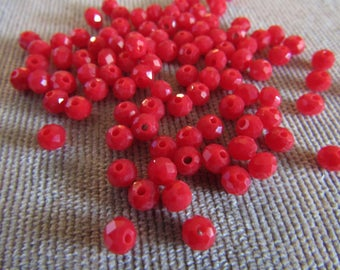 4mm Red Opaque Rondelles (100) Glass Crystals Red Opaque Crystal Beads Loose Beads Faceted Crystals for Jewelry Making