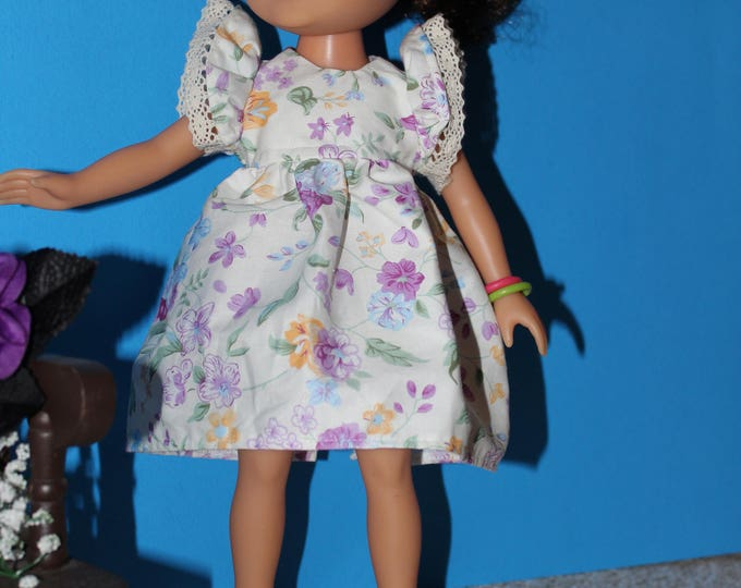 Handmade Flower print Dress, Shoes Included.  to fit the wellie wisher and Heart to Heart doll FREE SHIPPING