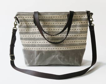 """Waxed Canvas Screen Print Crossbody Tote Bag with Leather Straps - """"Coastal"""" White/Gray, School Bag, Work Bag, Tote Bag, Waxed Canvas Tote"""