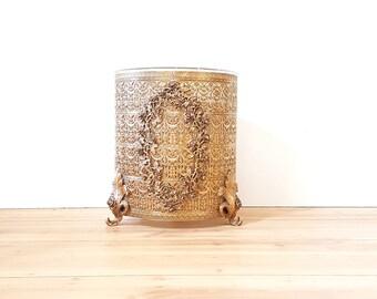 Gold Filigree Waste Basket / Footed Trash Can Gold Gilt Metal Filigree Boudoir & Bath Accessory Rose / Scroll Design