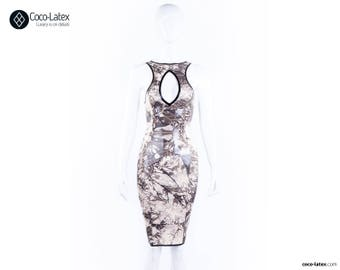 Lucy Pencil Dress With Crystal  Effect Latex