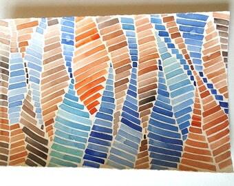 Geometric watercolour painting, Watercolour original, Geometric Wall Art, Home and Living, Minimalist art, Blue Tangerine artwork, Rakla17